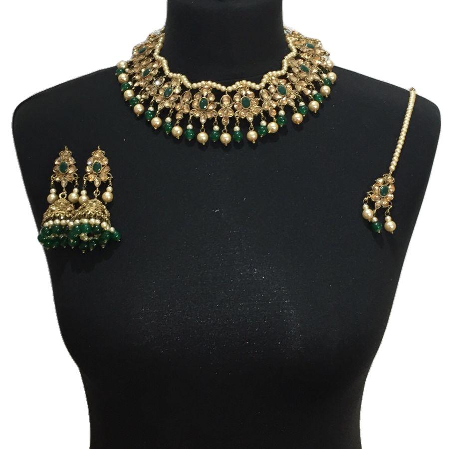 green golden necklace set NCK0520