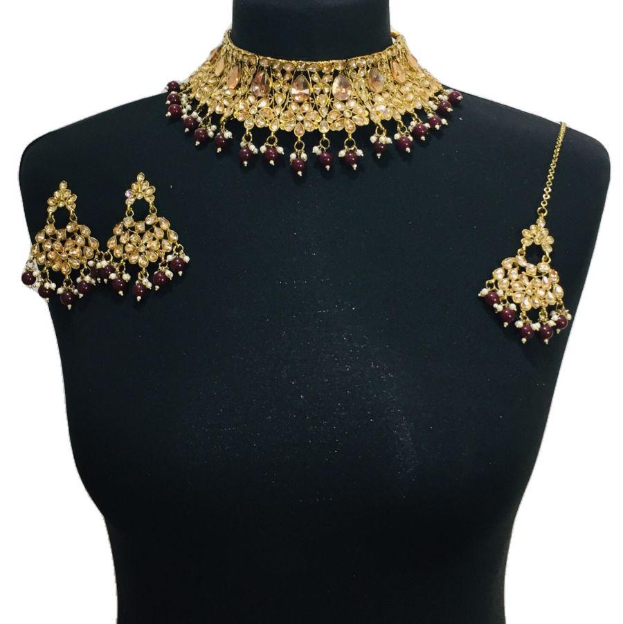 golden maroon necklace set NCK0525