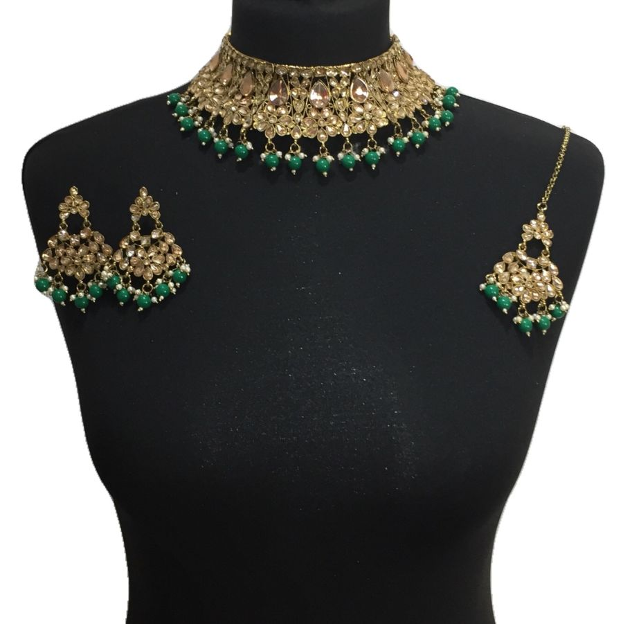 golden green necklace set NCK00526