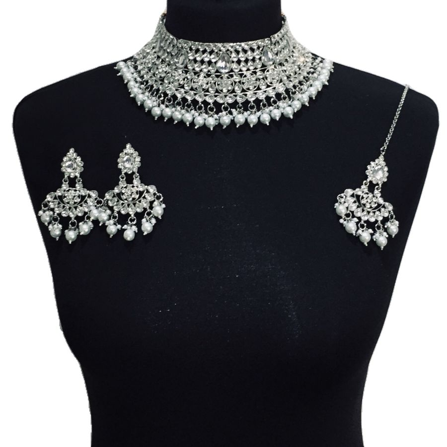 silver necklace set NCK0527