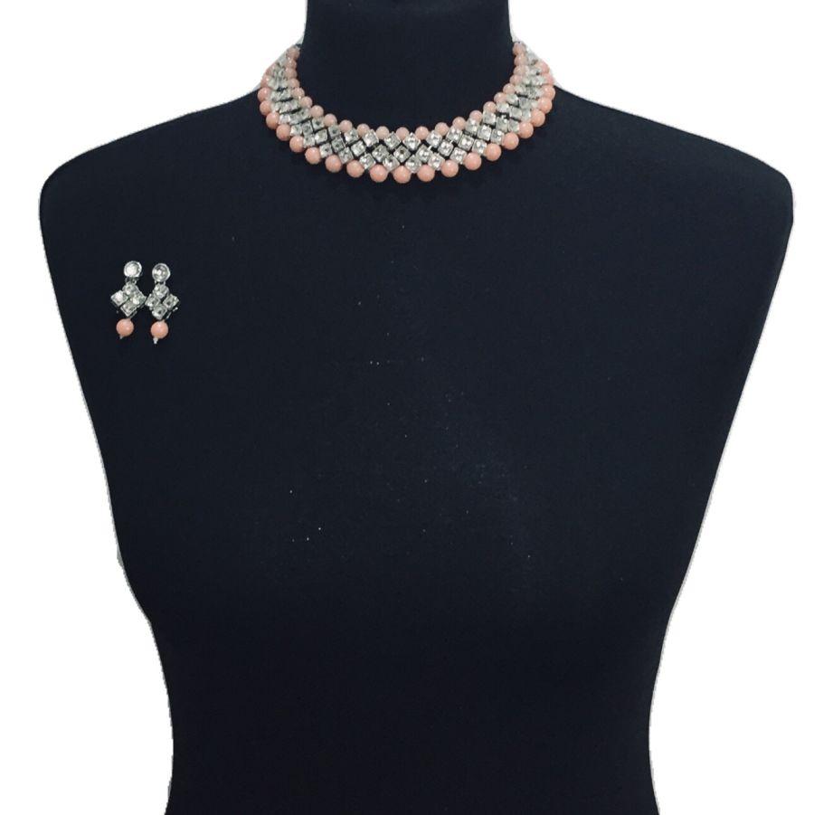 peach silver necklace set NCK0534