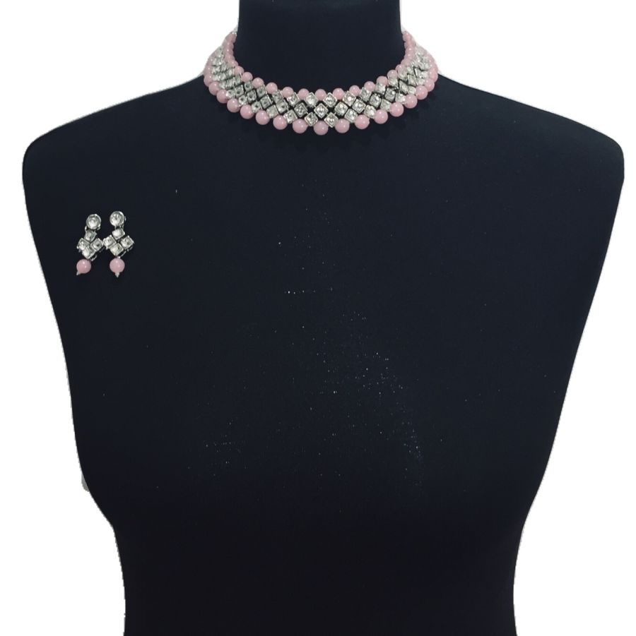 pink silver necklace set NCK0535