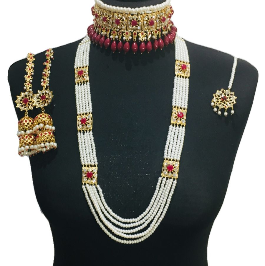 hyderabadi gold plated red set BRD0376