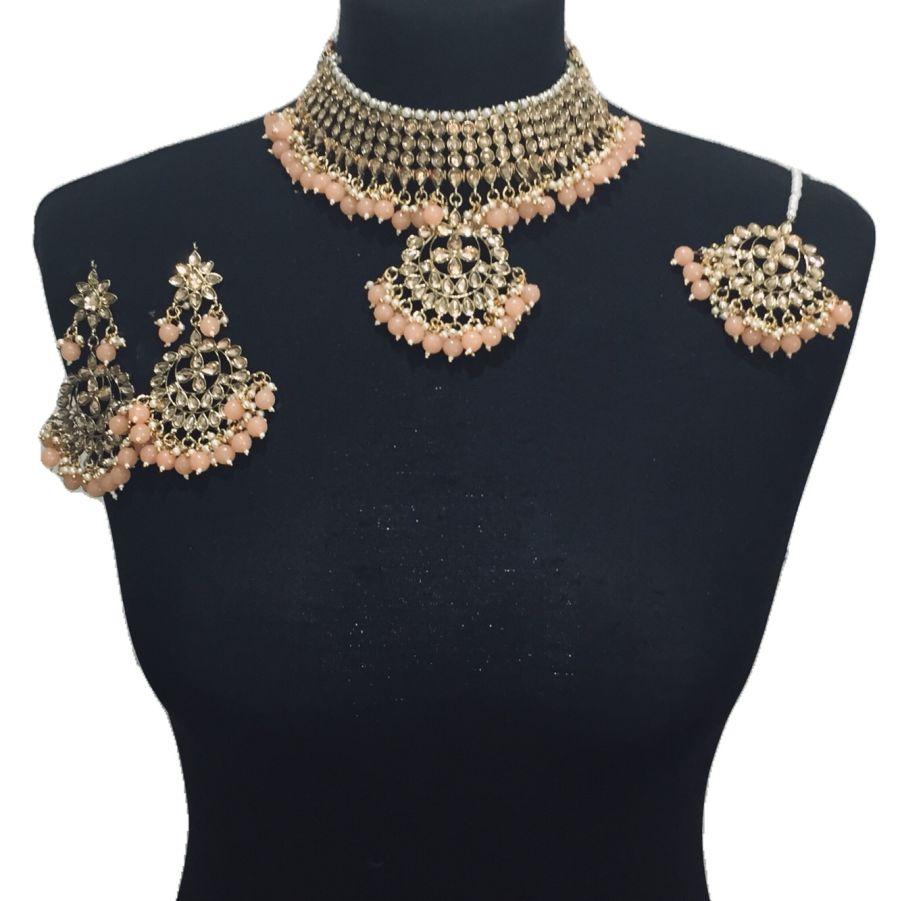 peach golden necklace set NCK0542