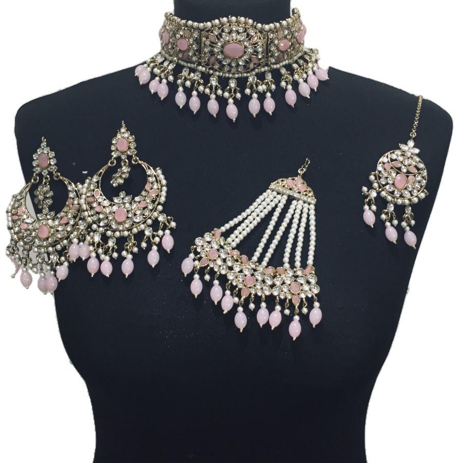 pink golden bridal set BRD0381