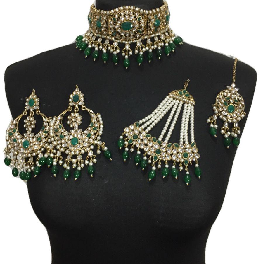 gold green bridal set BRD0383