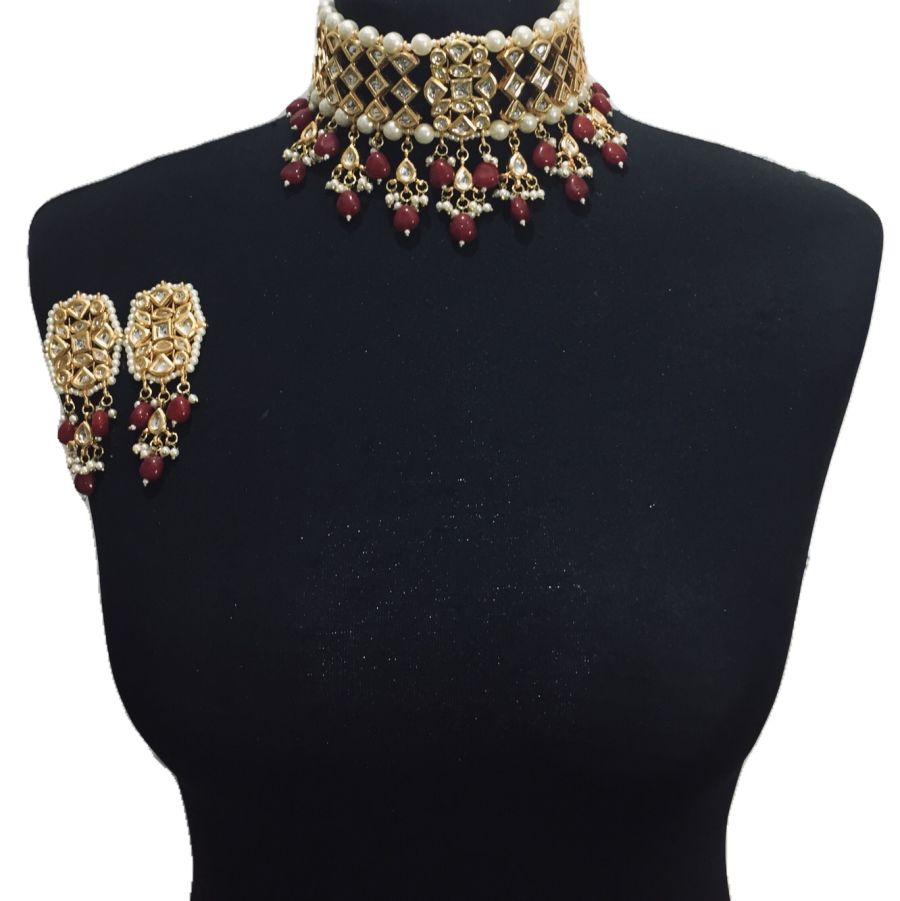 red kundan set NCK0544