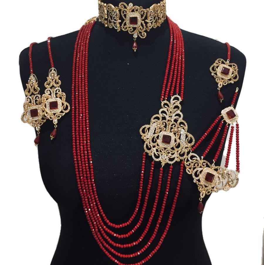 red choker bridal set BRD0386