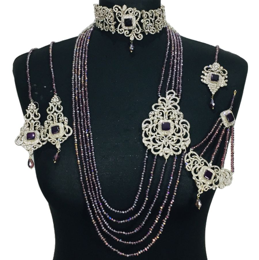 silver purple bridal set BRD0388