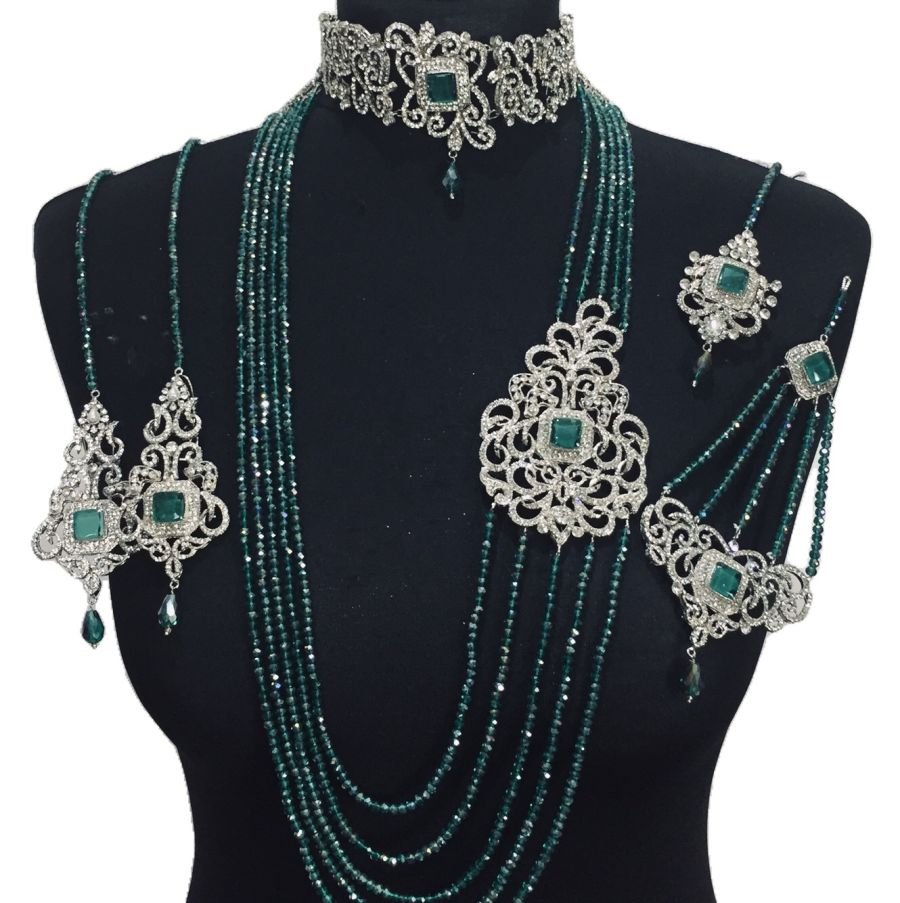 sea green silver bridal set BRD0389