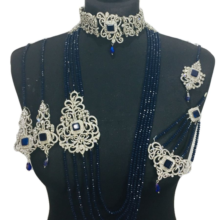 navy silver bridal set BRD0390