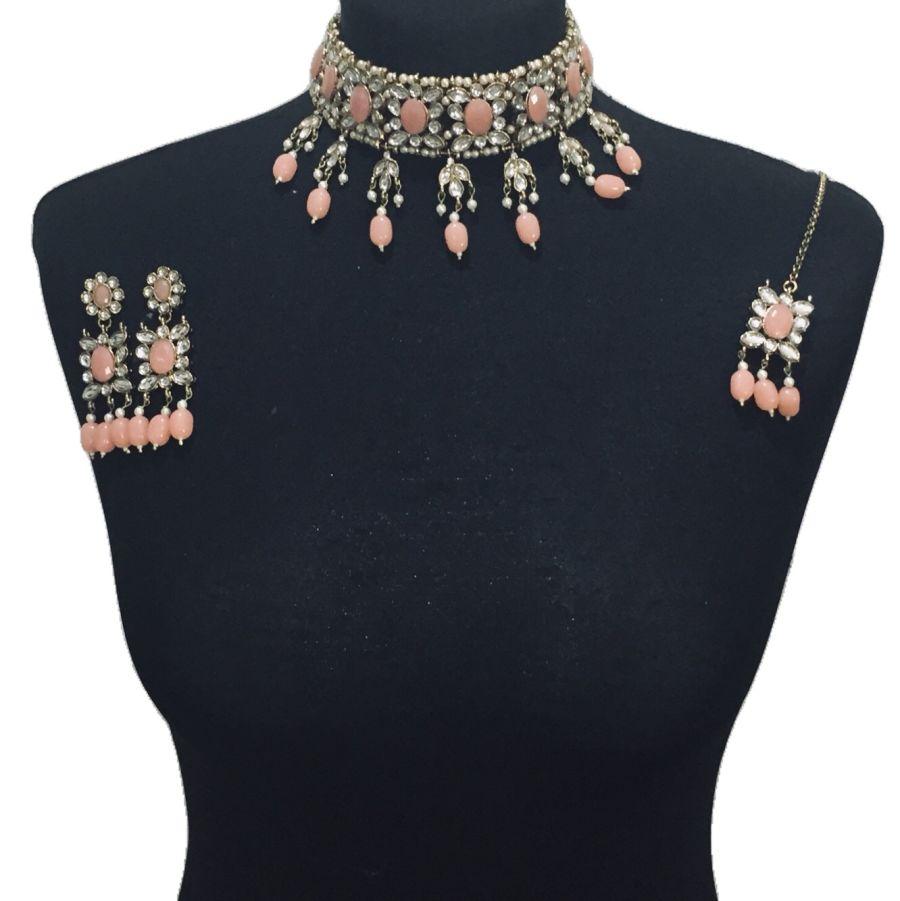 peach gold necklace set NCK0551