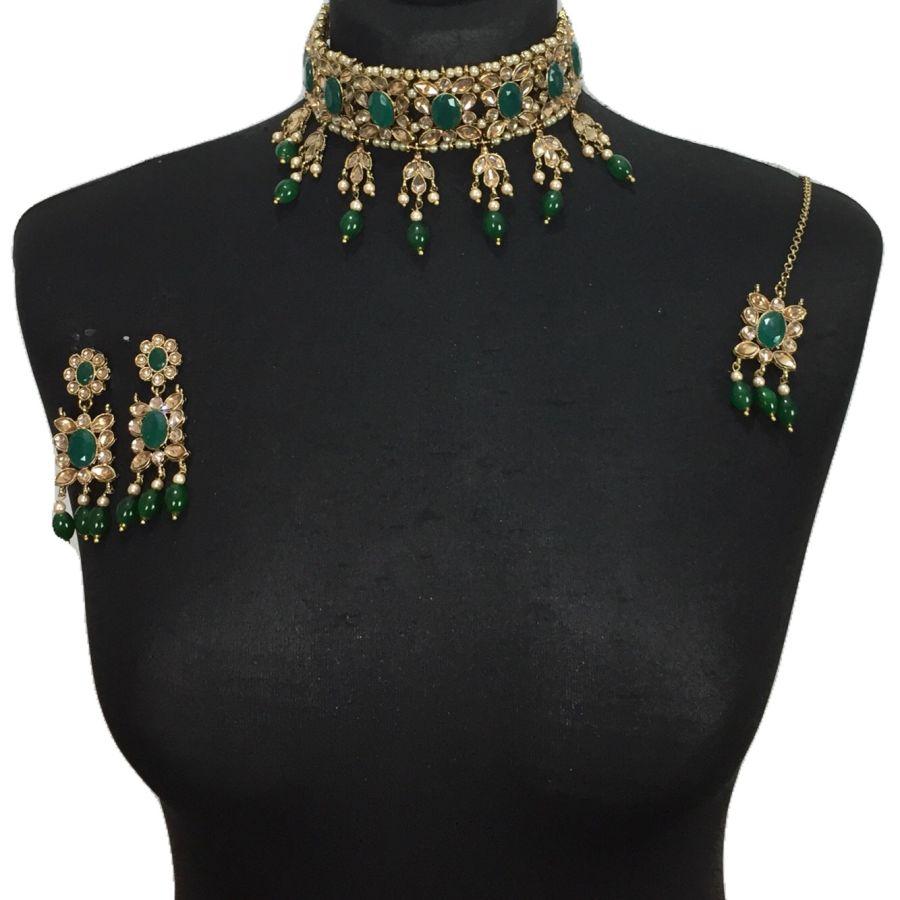 green golden necklace set NCK0552