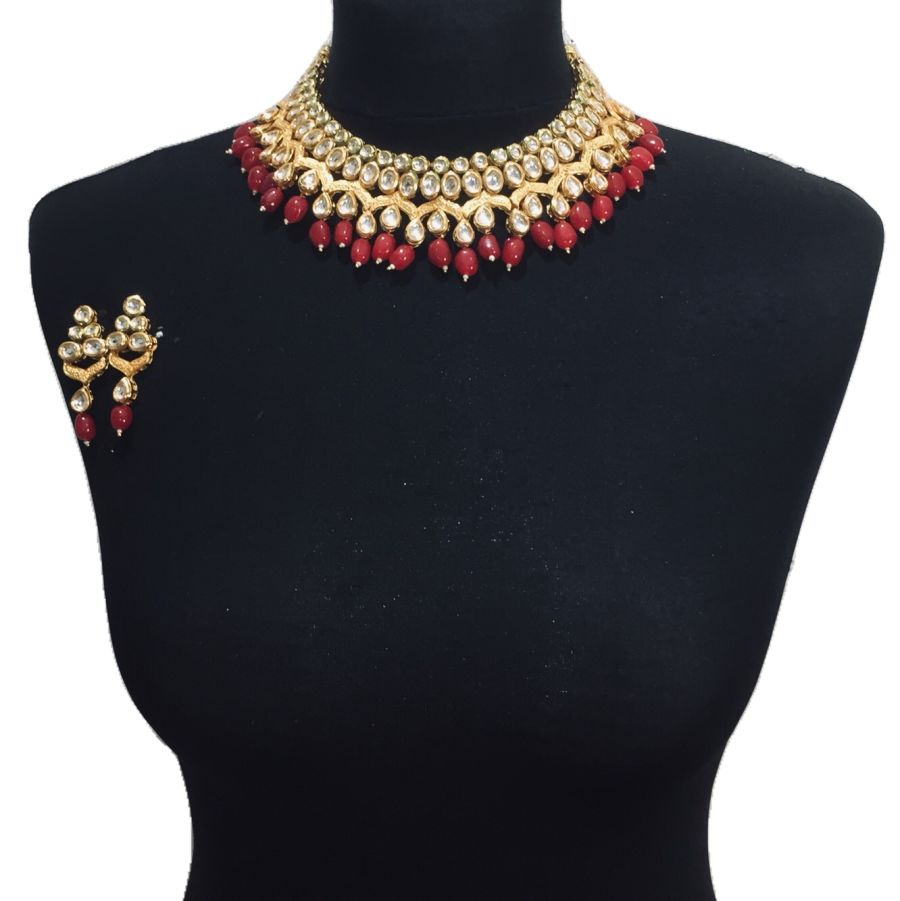 red kundan set NCK0565