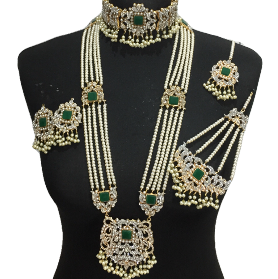 green golden bridal set BRD0407