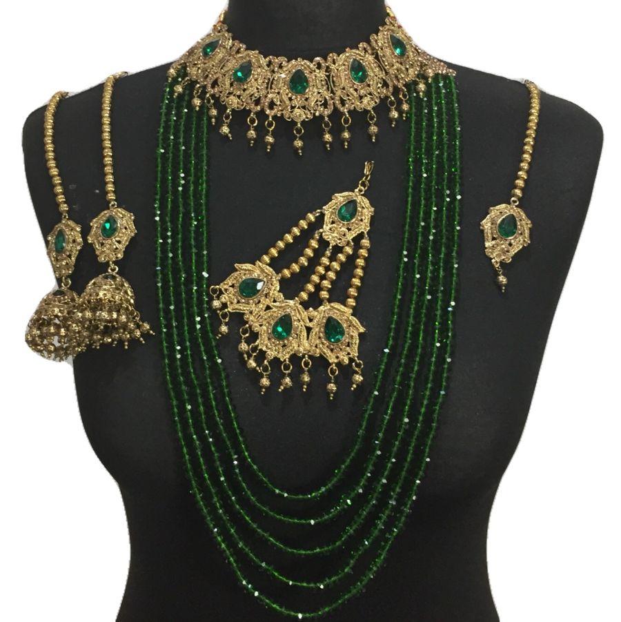 green golden bridal set BRD0412