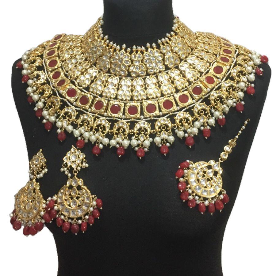 luxury red kundan bridal set BRD0417
