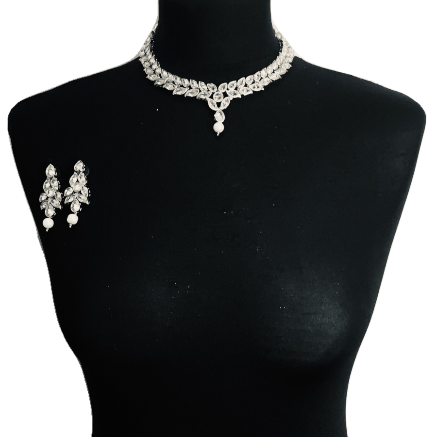 silver pearl necklace set NCK0329