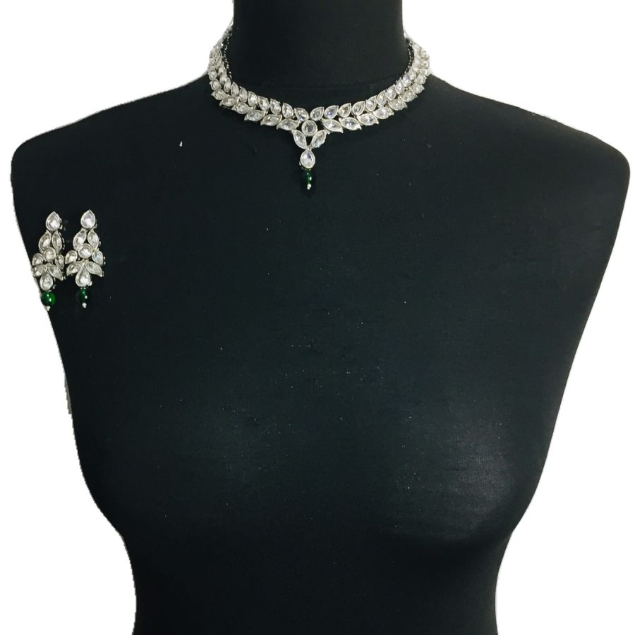 silver green necklace set NCK0331