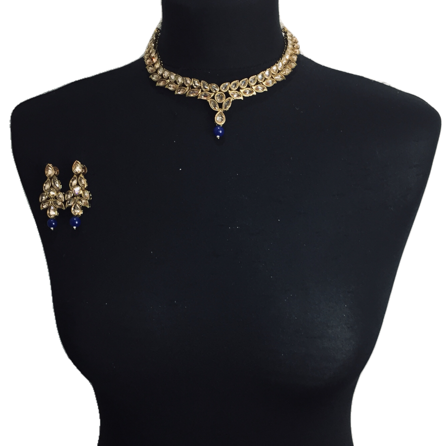 golden blue necklace set NCK0335