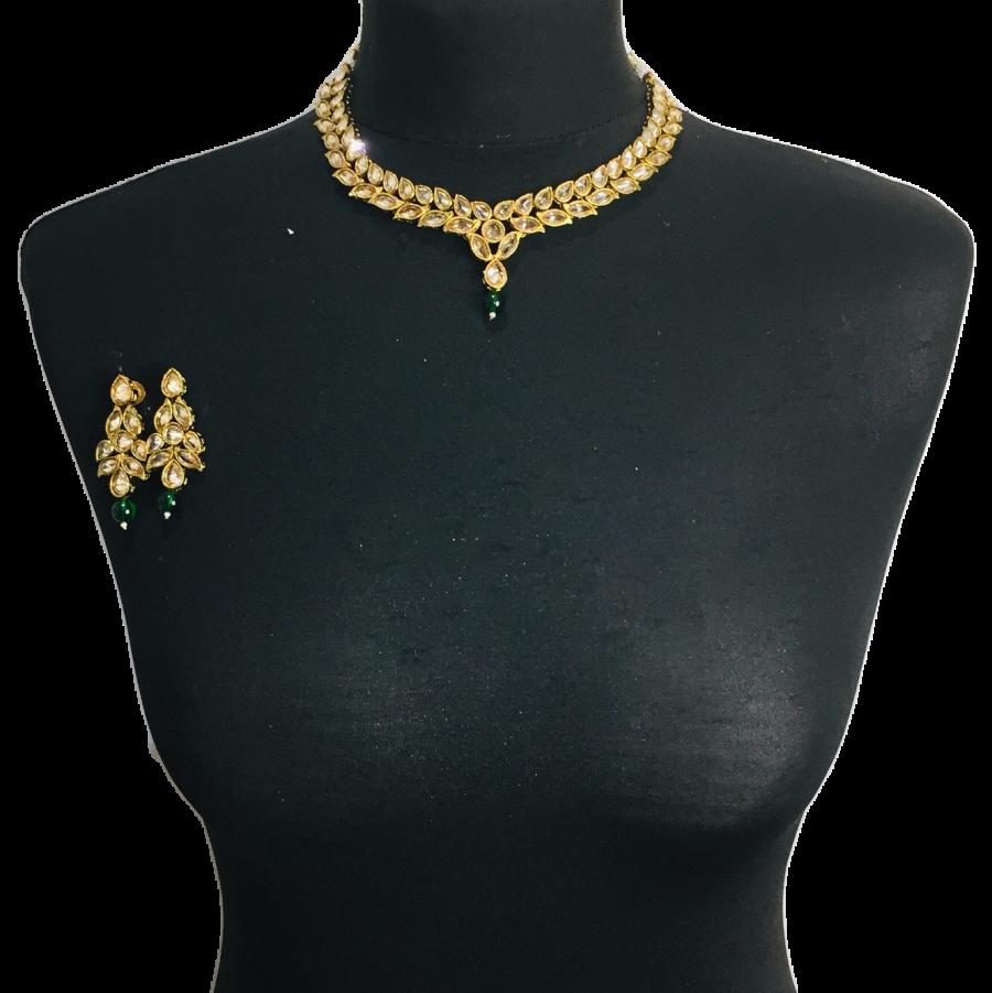 golden green necklace set NCK0336