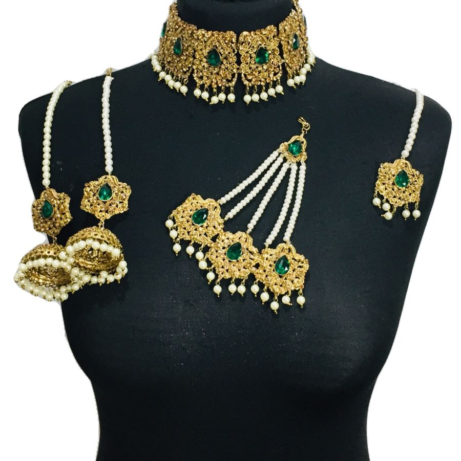 green bridal choker set BRD0331