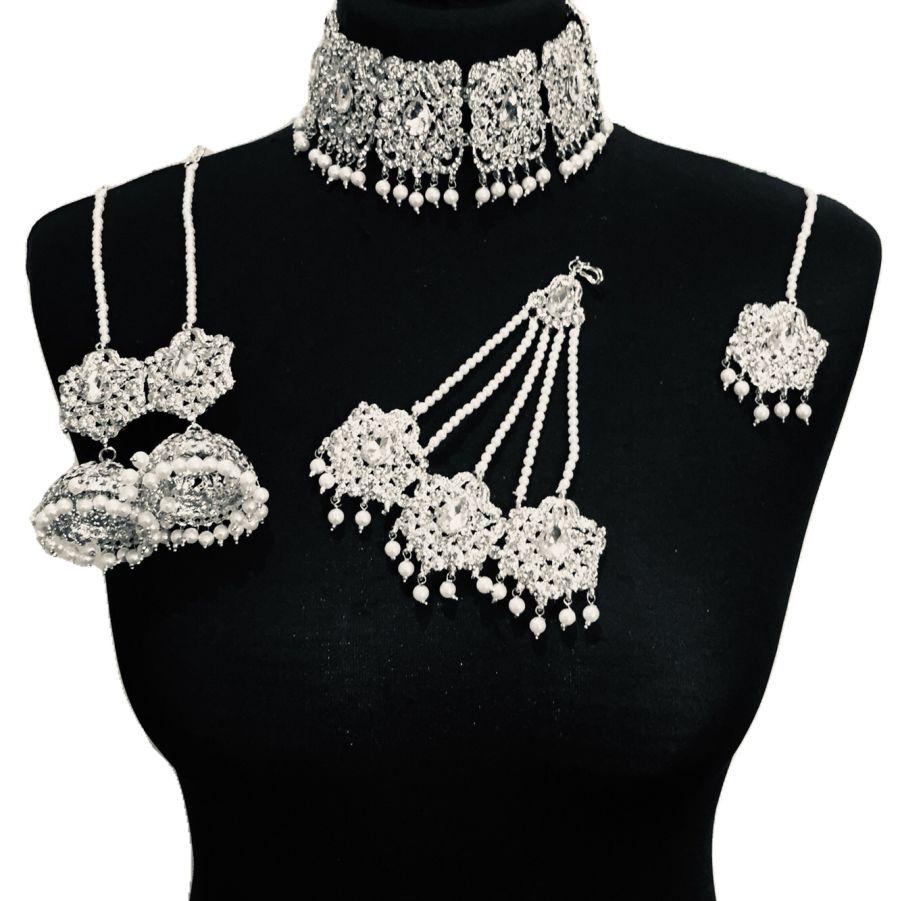 silver diamonte bridal set BRD0334
