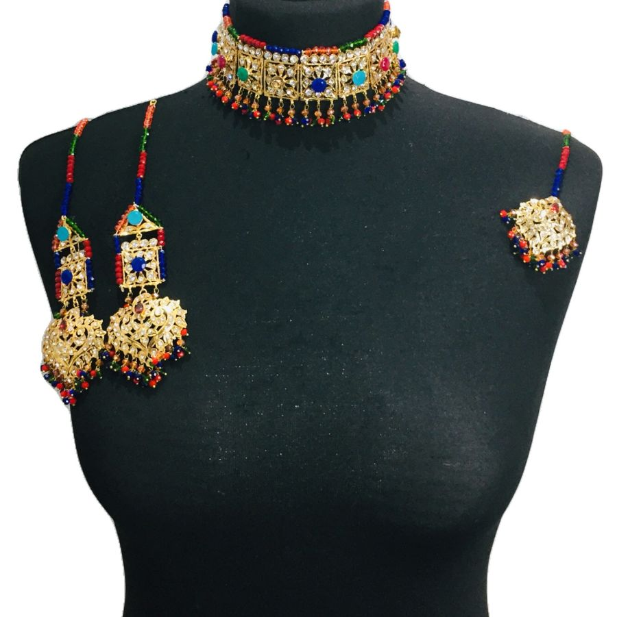 multicoloured hyderabadi choker set NCK0348