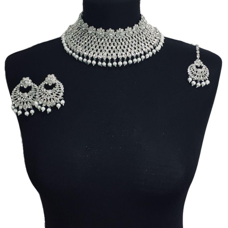 silver diamonte necklace set NCK0349