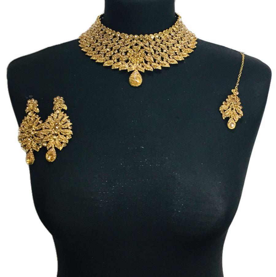 golden diamond necklace set NCK0354