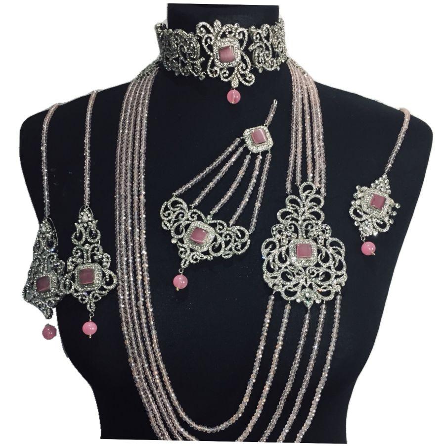 pink silver bridal set BRD0348
