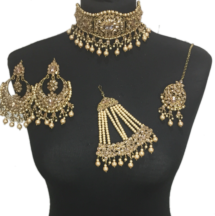 golden bridal choker set BRD0385