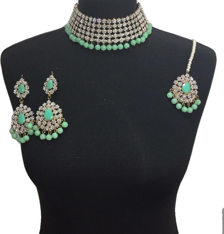 mint golden necklace set NCK0599