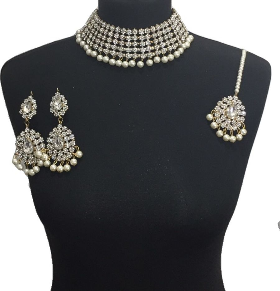diamonte pearl necklace set NCK0600