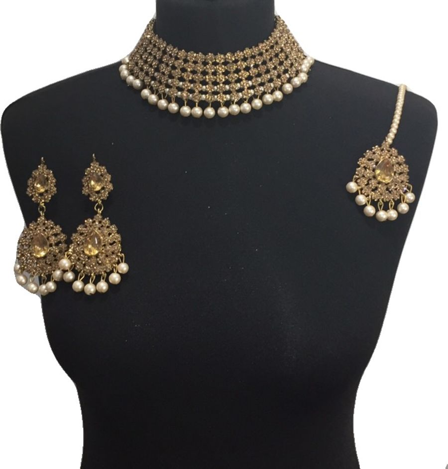champagne necklace set NCK0601