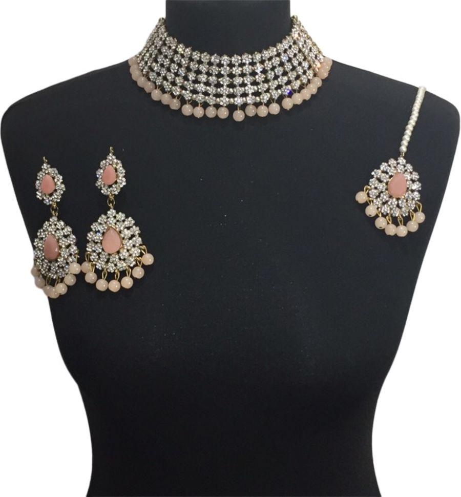 peach necklace set NCK0602