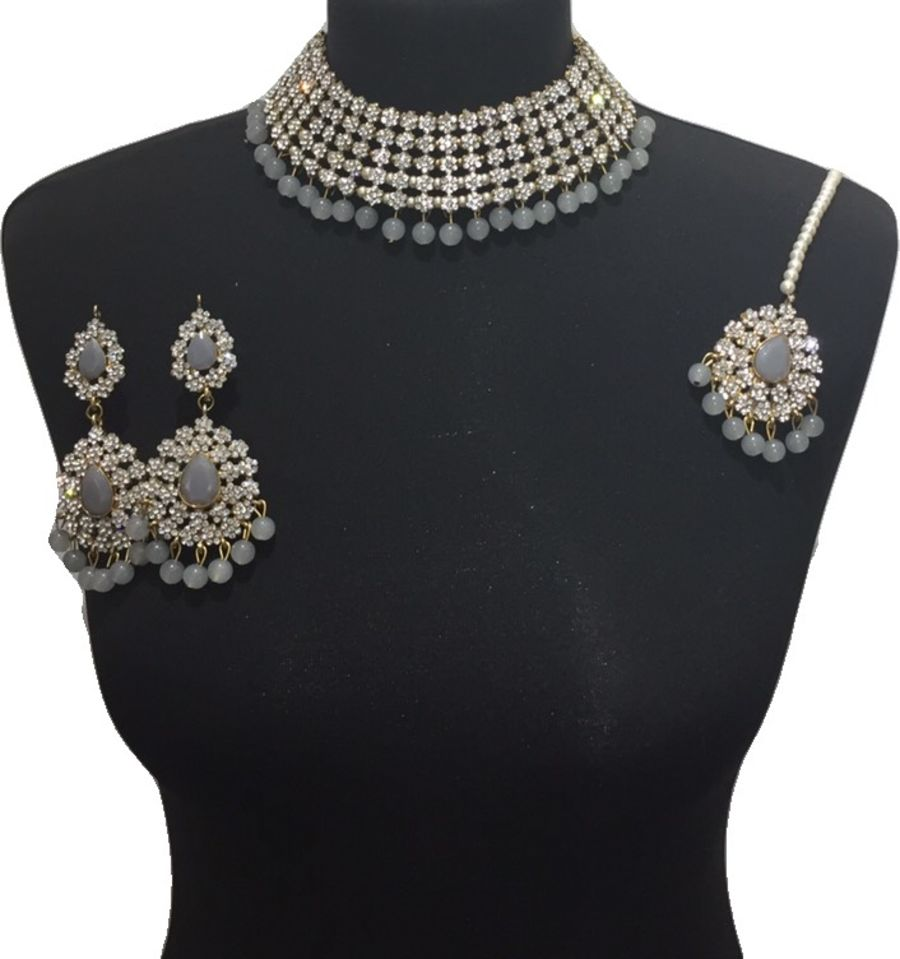 grey necklace set NCK0603