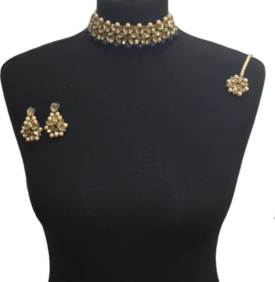 elegant navy blue choker set NCK0614