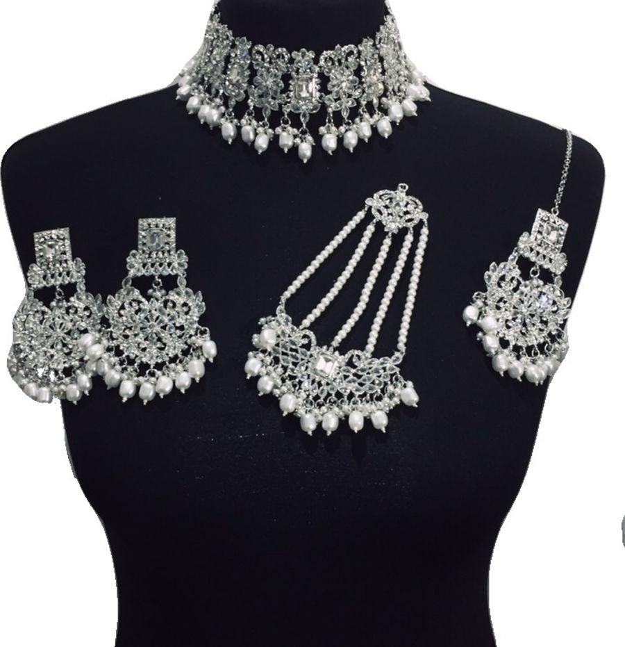 silver bridal choker set BRD0429