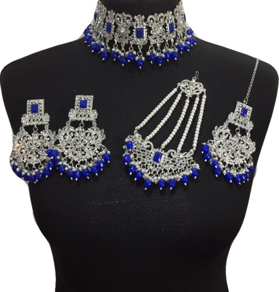 royal blue bridal choker set BRD0433
