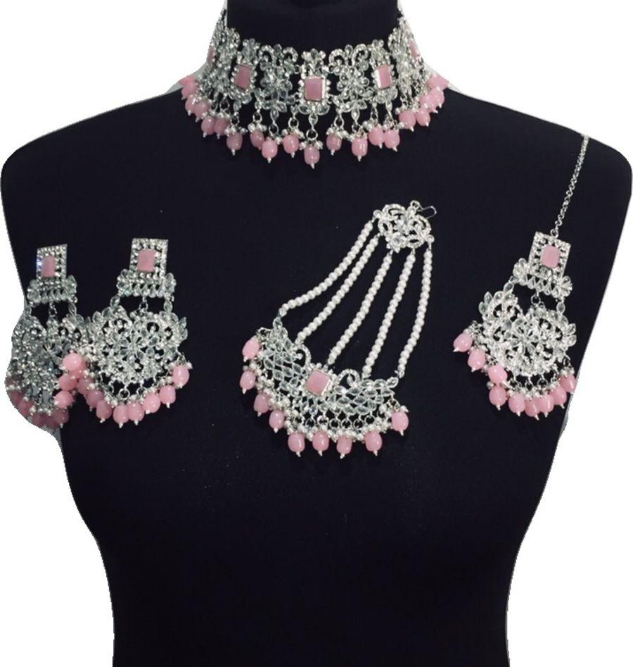 silver pink bridal choker set BRD0434