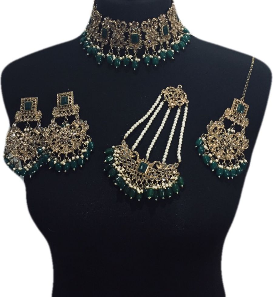green bridal jewellery BRD0448