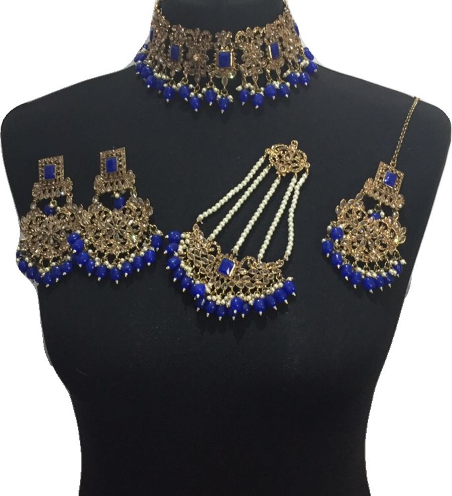 royal blue bridal jewellery set BRD0449