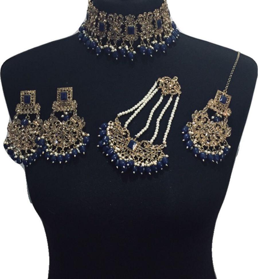 navy blue bridal jewellery set BRD0451