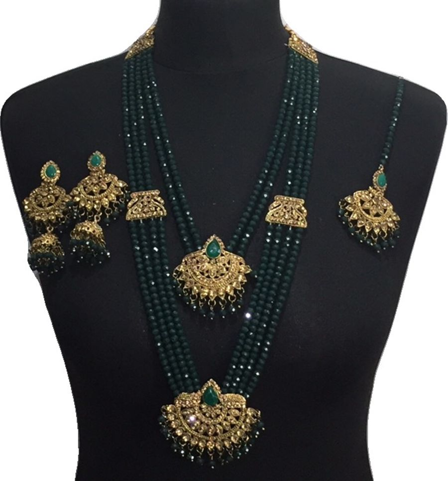 green mala necklace set NCK0619