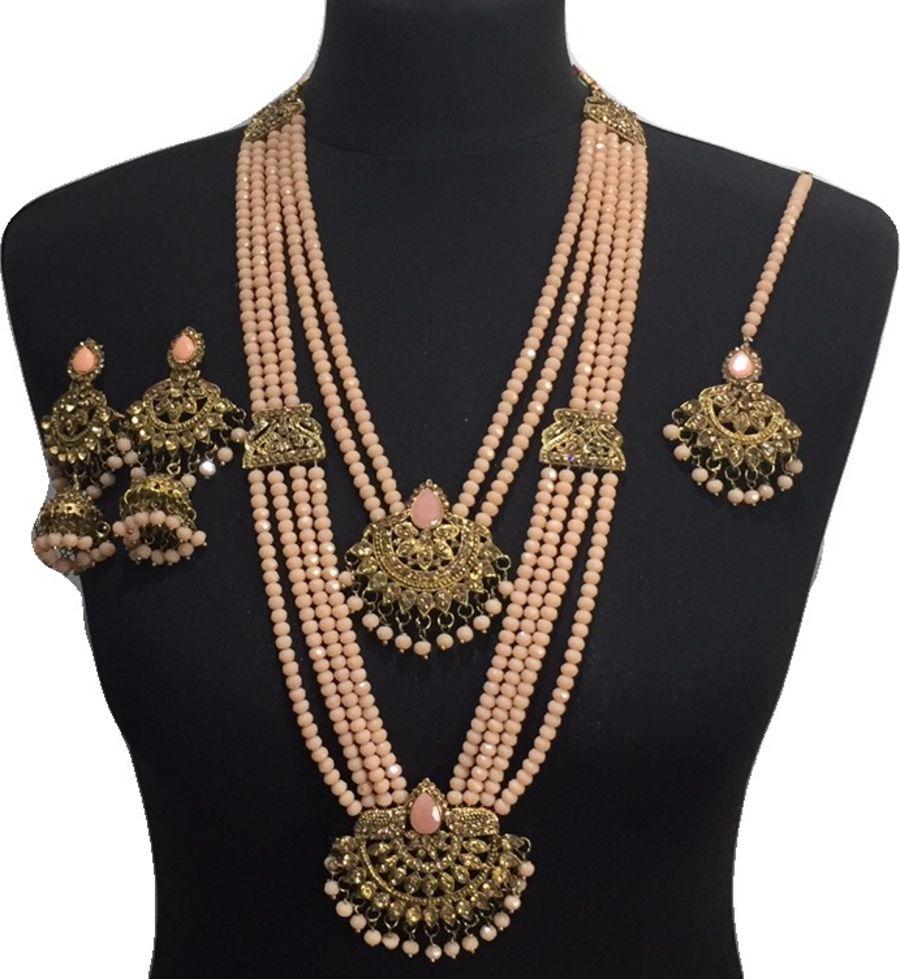 peach mala necklace set NCK0623