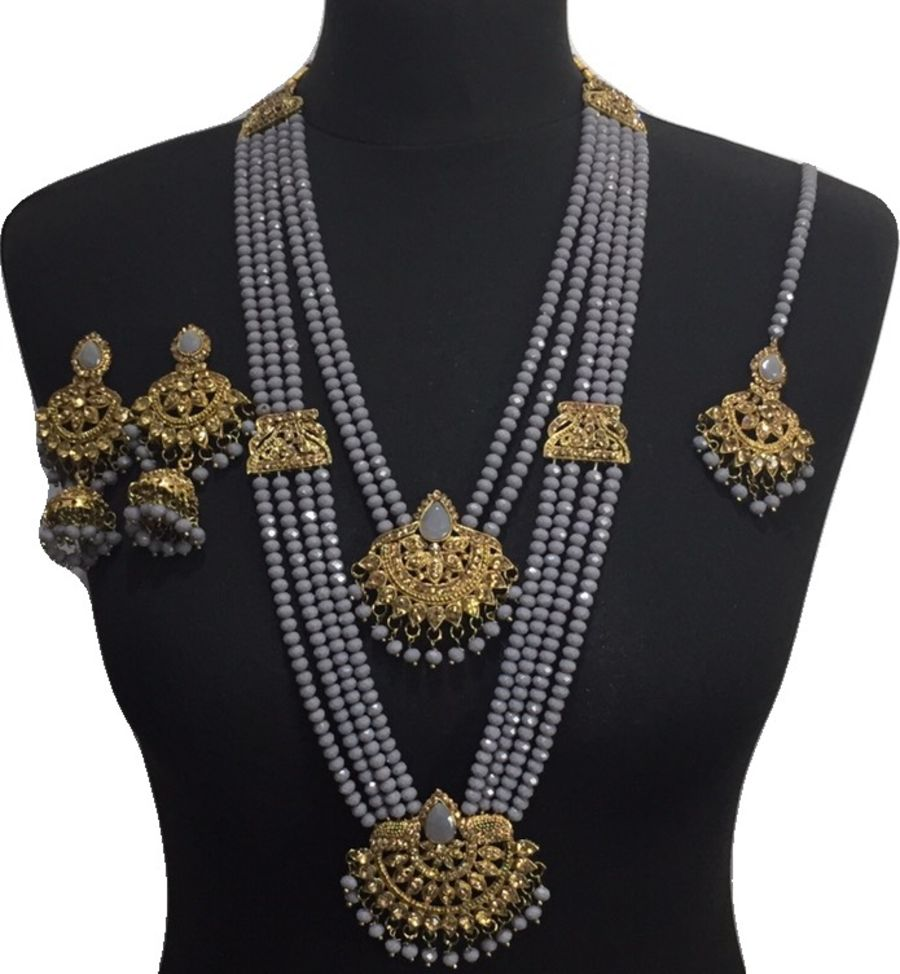 grey mala necklace set NCK0624