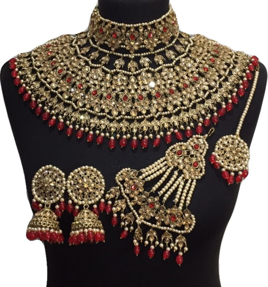 red bridal jodha jewellery set BRD0460