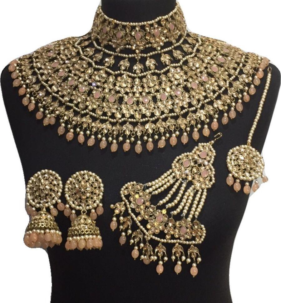 peach golden jodha bridal jewellery set BRD0461