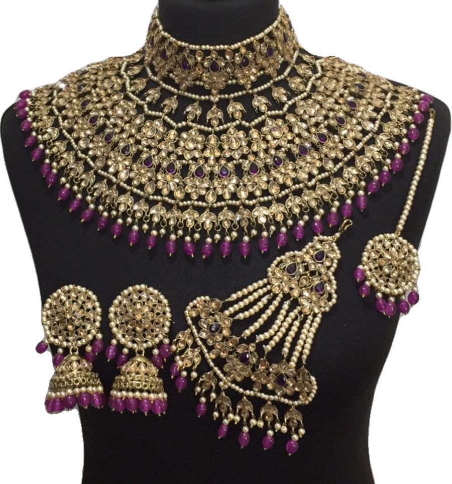 purple golden jodha bridal jewellery set BRD0462
